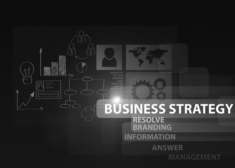 Text on the image says Business Strategy, Resolve Branding, Information, Answer, Mangement. There are lots of icons in the background representing a drawn out PR reputation management strategy.